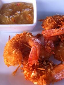 Crevettes à la noix de coco et marmelade orange-gingembre